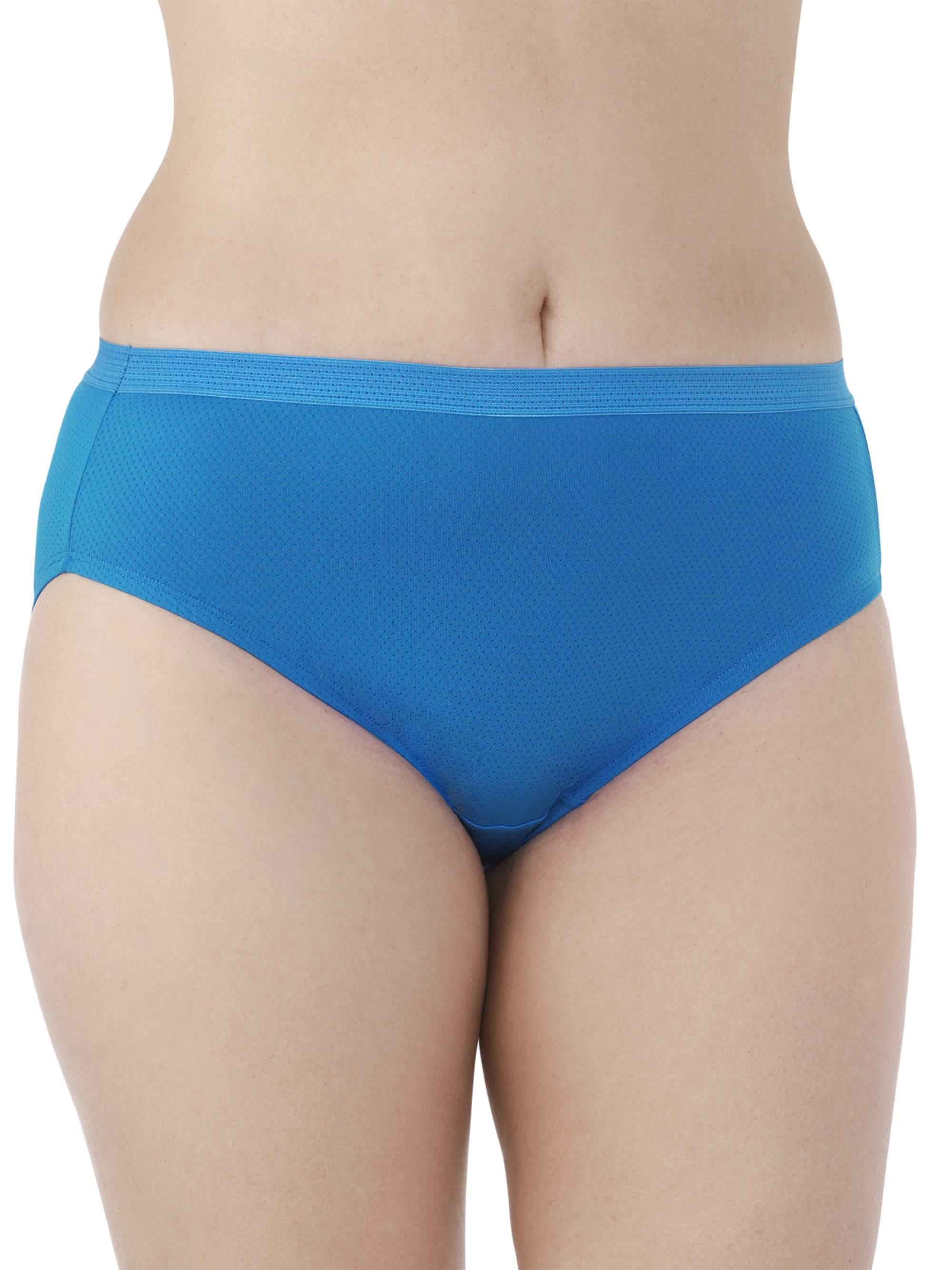 Women's Plus Breathable Micro-Mesh Brief Panties, 6 Pack