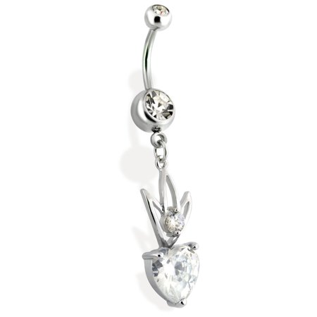 Mspiercing Dangling Steel Hollow Crown Belly Ring With Heart Gem Clear Walmart Com