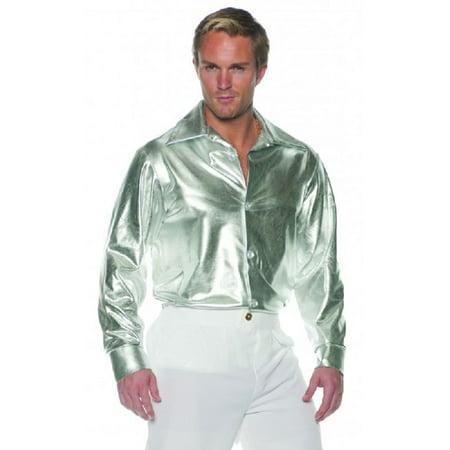 b084052bd Adult Men's Metallic Silver Disco Dancer Shirt Shiny Button Up 60s 70s  STD-XXL