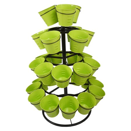 Finether 4 Tier Revolving Garden Pot Rack Metal Plant Stand with 30 Flower Pots for Growing Strawberries Herbs Flowers Succulents, -
