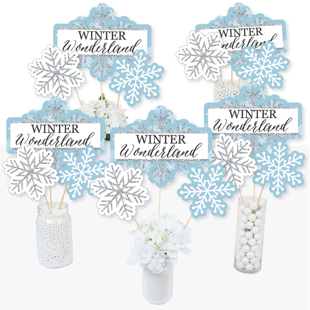 Snowflake Centerpieces Holiday Snowflake Party Winter 1st Birthday Table Toppers Winter Themed Party Winter Wonderland Centerpiece Sticks