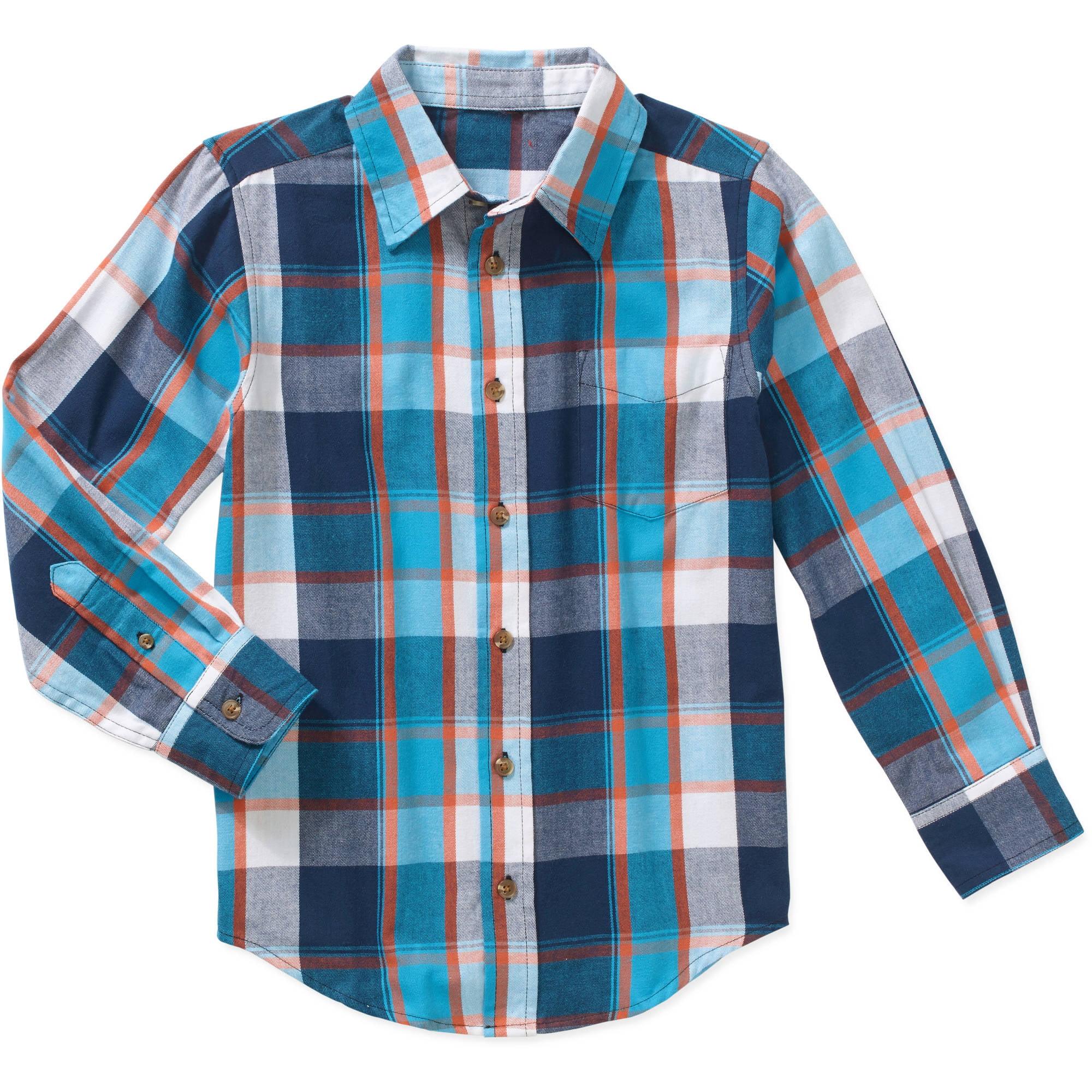 Wrangler Boys' Long Sleeve Plaid Twill Woven Shirt