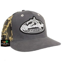 RIG EM RIGHT WATERFOWL GRAY TRUCKER HAT WITH VINTAGE CAMO MESH ... 02fc6686b3a