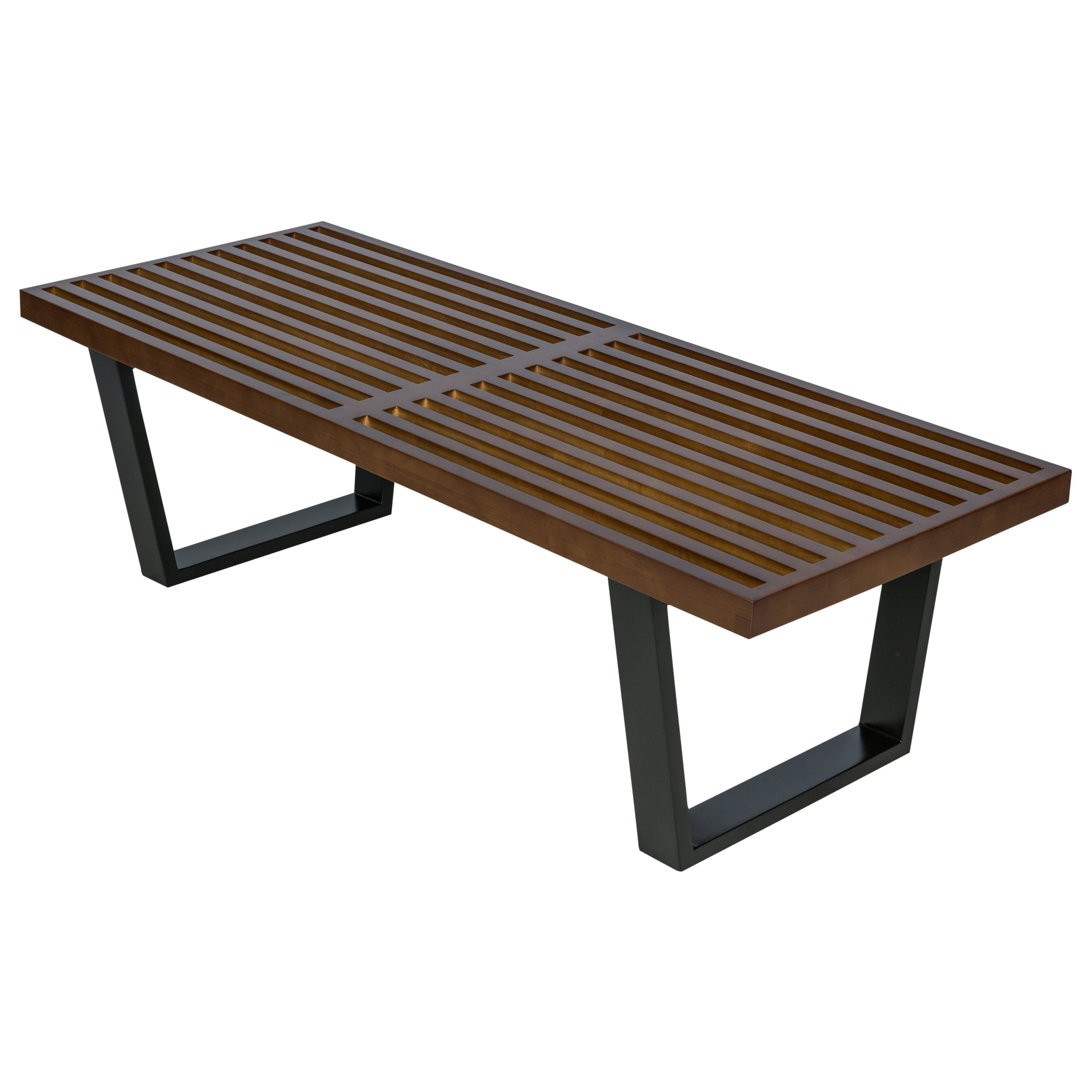 LeisureMod Mid-Century Nelson Platform Bench in Dark Walnut 4 Feet