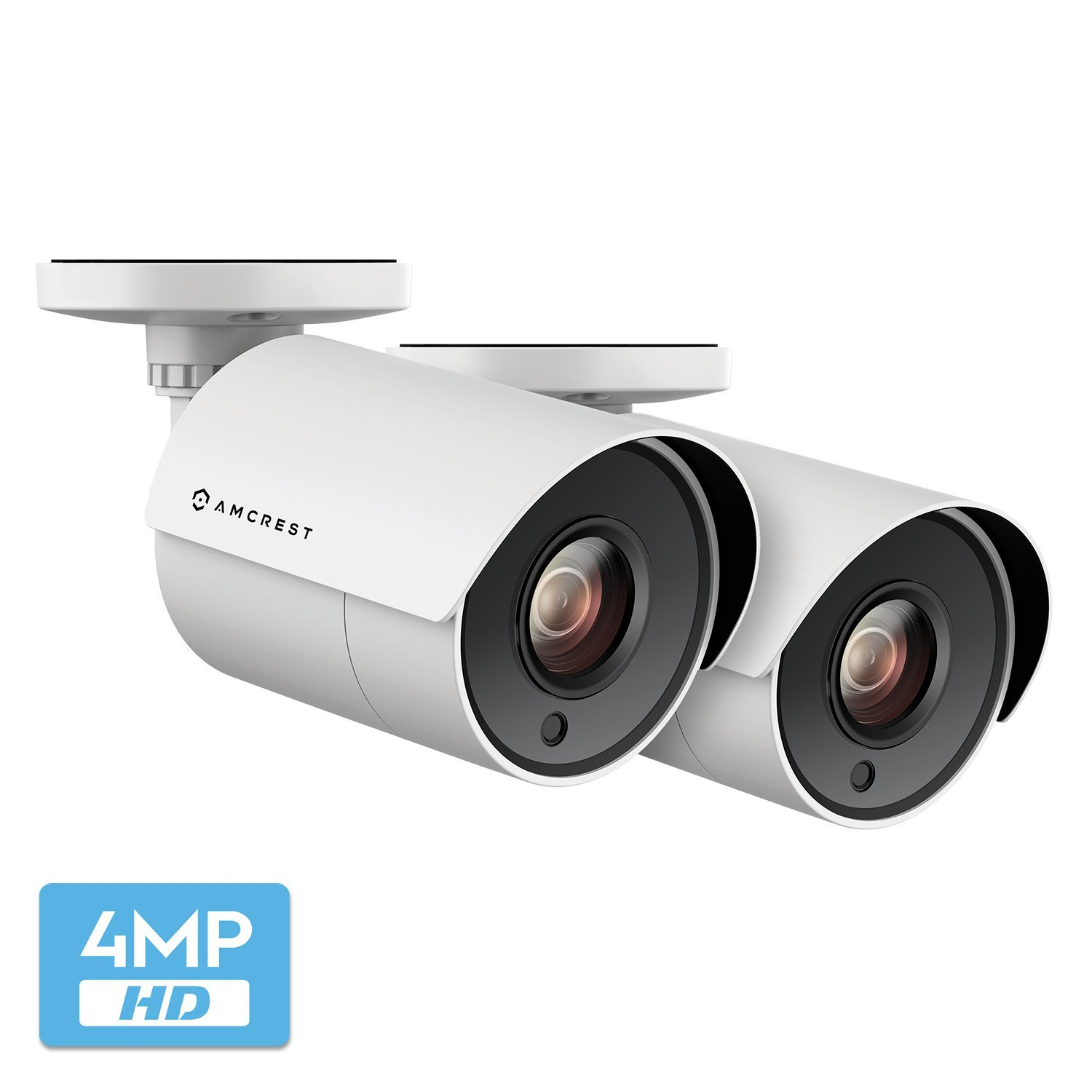 2-Pack Amcrest UltraHD 4-Megapixel Bullet Outdoor Security Camera, 4MP 2688x1440P, Heavy Duty Housing, 2.8mm Lens 100° Wide Angle, White (2PACK-AMC4MBC28P-W)