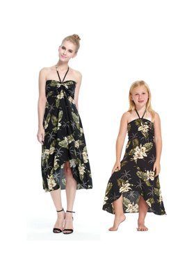 aa437e8e7415 Product Image Matching Hawaiian Luau Mother Daughter Butterfly Dress in  Palm Green in Black L-14