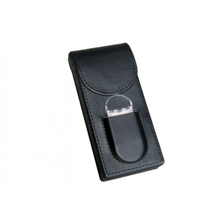 3 Cigar Folding Leather Travel Case w/ Cutter -