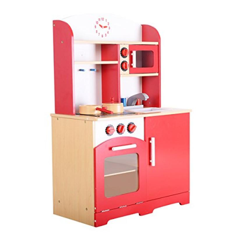 Giantex Wood Kitchen Toy Kids Cooking Pretend Play Set Toddler Wooden Playset red by