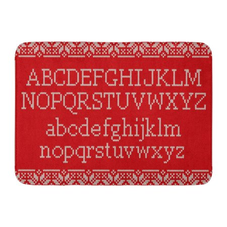 GODPOK Winter Red Jumper Christmas Knitted Latin Alphabet on Nordic Fair Isle Knitting Sweater Design Knit Rug Doormat Bath Mat 23.6x15.7 inch ()