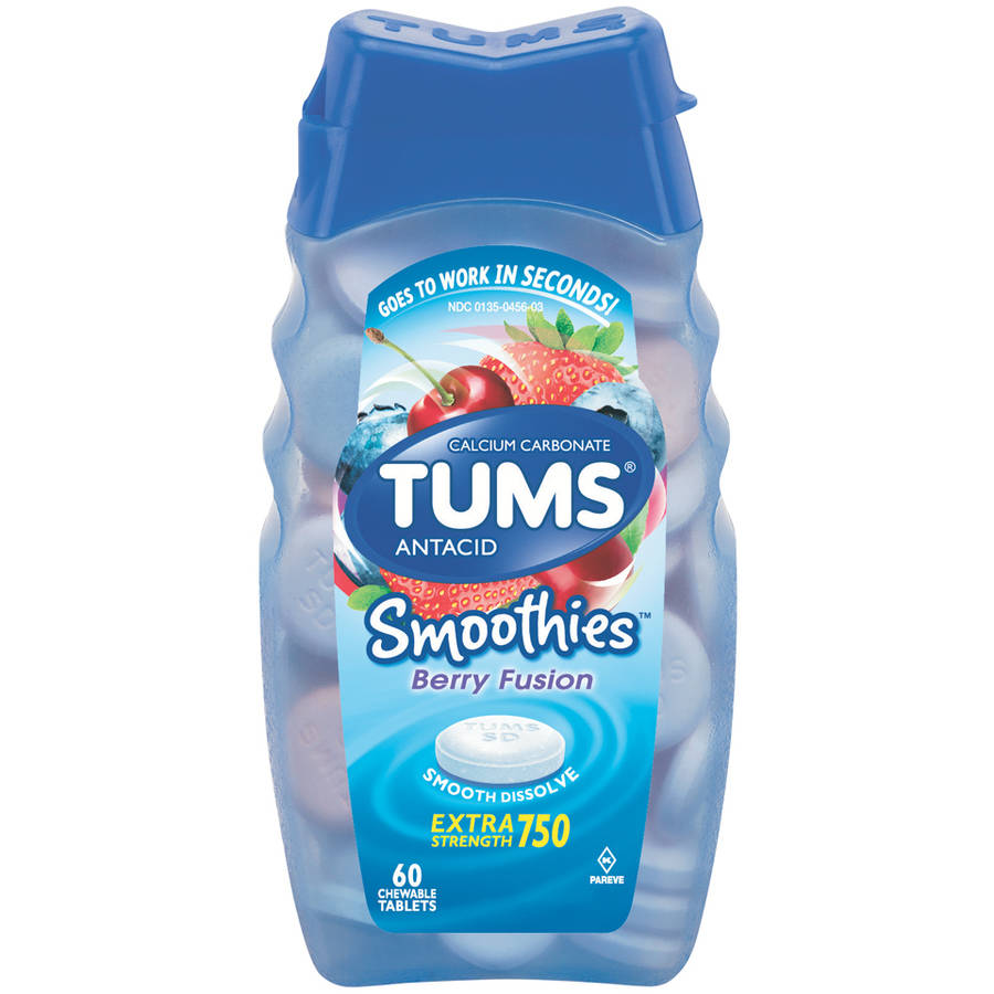 TUMS Smoothies Antacid Extra Strength 750 Berry Fusion Chewable Tablets, 60 count