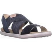 Womens ECCO Damara Cross Strap Flat Comfort Sandals, Black/Blac/Powder