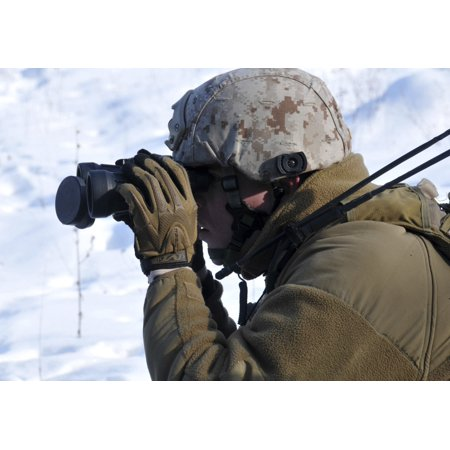 February 9 2012 - A US Marine looks through his binoculars during a close-air support exercise at the Joint Multinational Readiness Center in Hohenfels Germany Poster Print