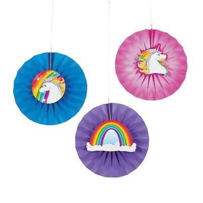 IN-13755424 Unicorn Hanging Fans with Icons Per Dozen