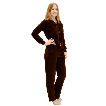 Velour Hoodie Sweat Suit Jacket and Pants Set (Brown, 3X) ()