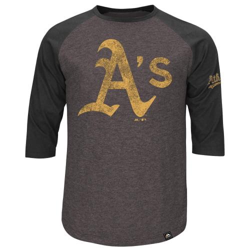 Oakland Athletics Majestic Big & Tall Power Hit Raglan Three-Quarter Sleeve Big & Tall T-Shirt - Charcoal