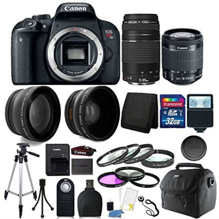 Canon EOS Rebel T7i 24.2MP Digital SLR Wifi Enabled Camera Black with EF-S 18-55 IS STM and EF 75-300mm Lenses + 32GB Top Accessory Bundle (Digital Camera Wifi Cannon)