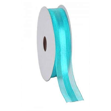 "7/8"" Sheer Organza with Satin Middle Ribbon 25 Yards - Aqua Blue"