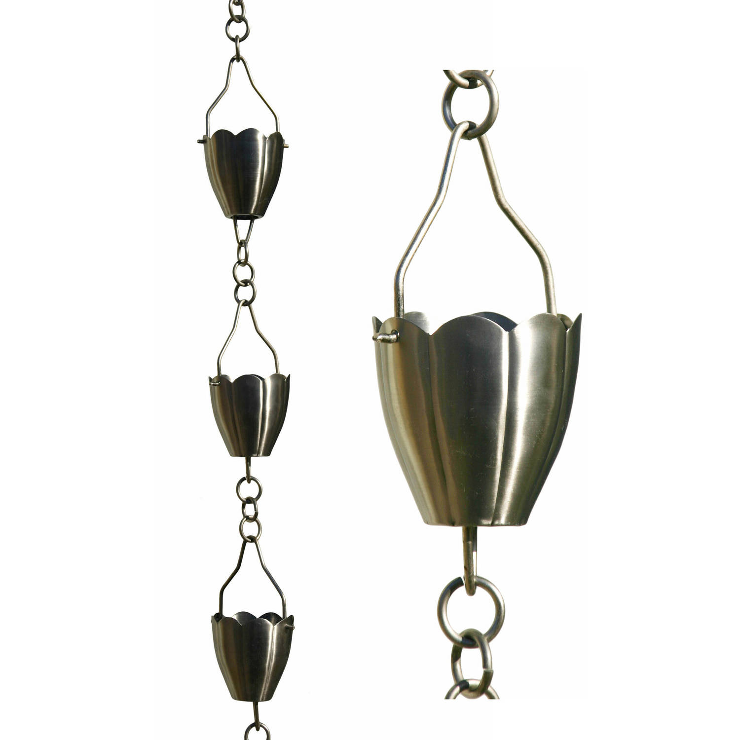 Patina Products R267 8.5' Brushed Stainless Steel Flower Cup Rain Chain
