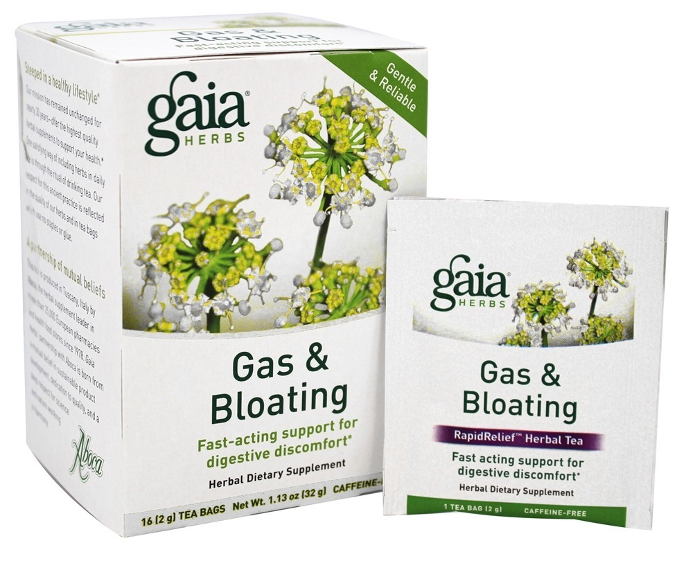 Gaia Herbs Gas & Bloating Herbal Dietary Tea 16 Tea Bags by Gaia Herbs