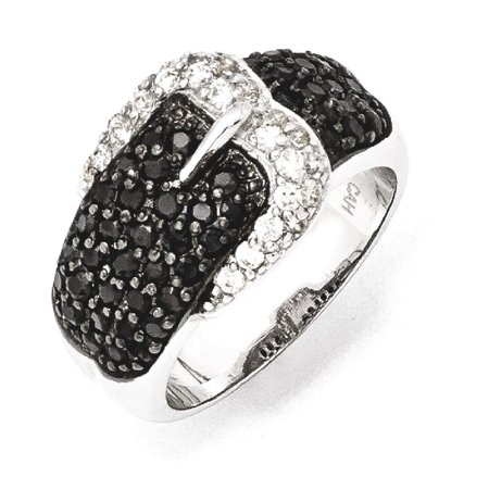 925 Sterling Silver Black/white Cubic Zirconia Cz Belt Band Ring Size 8.00 Buckle Fine Jewelry Gift Valentine Day Set For Women - Valentine Ring