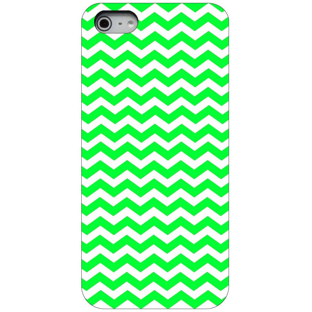 CUSTOM Black Hard Plastic Snap-On Case for Apple iPhone 5 / 5S / SE - Green White Chevron Stripes Wave