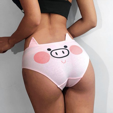 Mgaxyff Girls Underwear,Women Pink Pig Printing Cotton Underwear with Ear Decoration Shorts Briefs, Women Briefs Cotton Pink Pigs