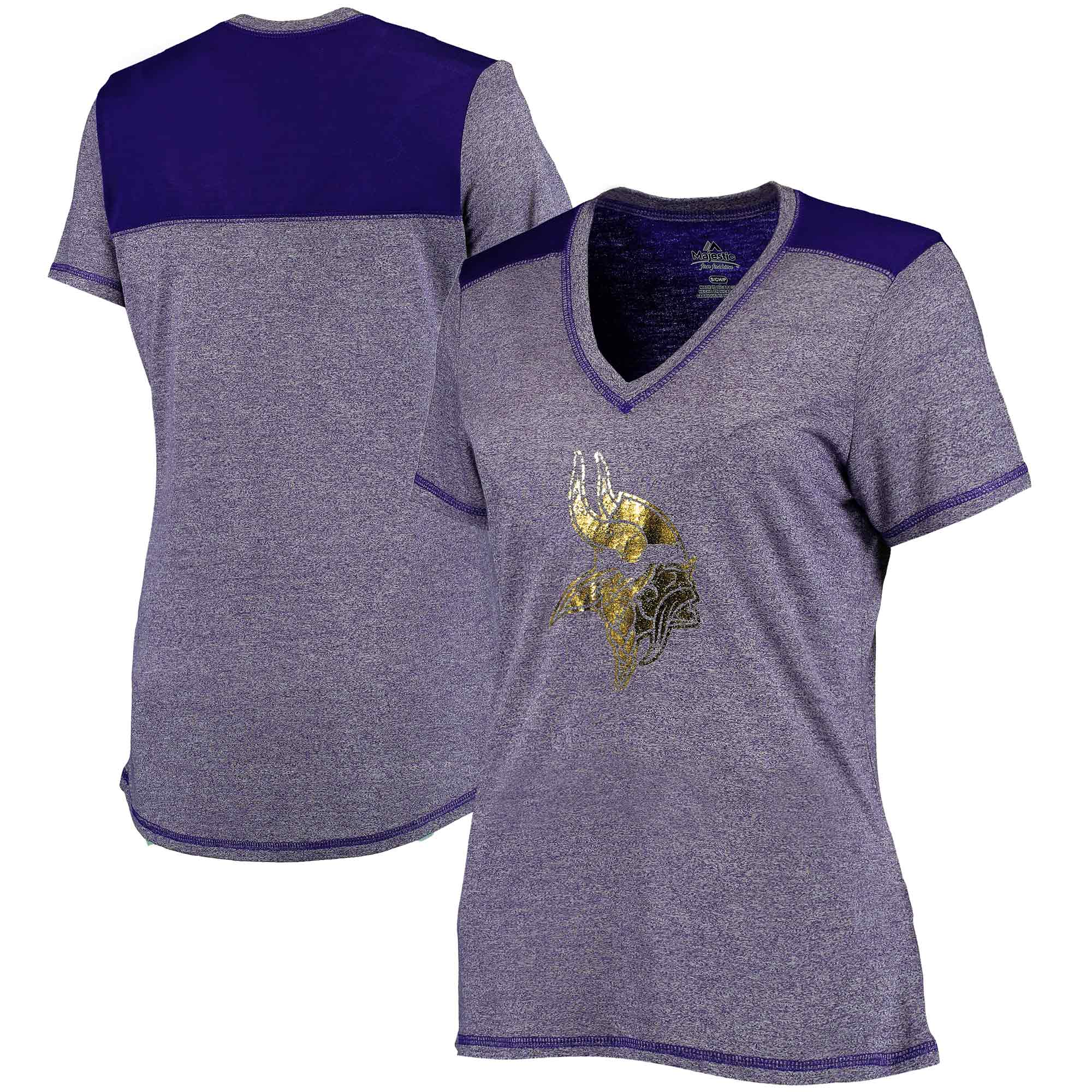 Minnesota Vikings Majestic Women's Bright Lights V-Neck T-Shirt - Heathered Purple