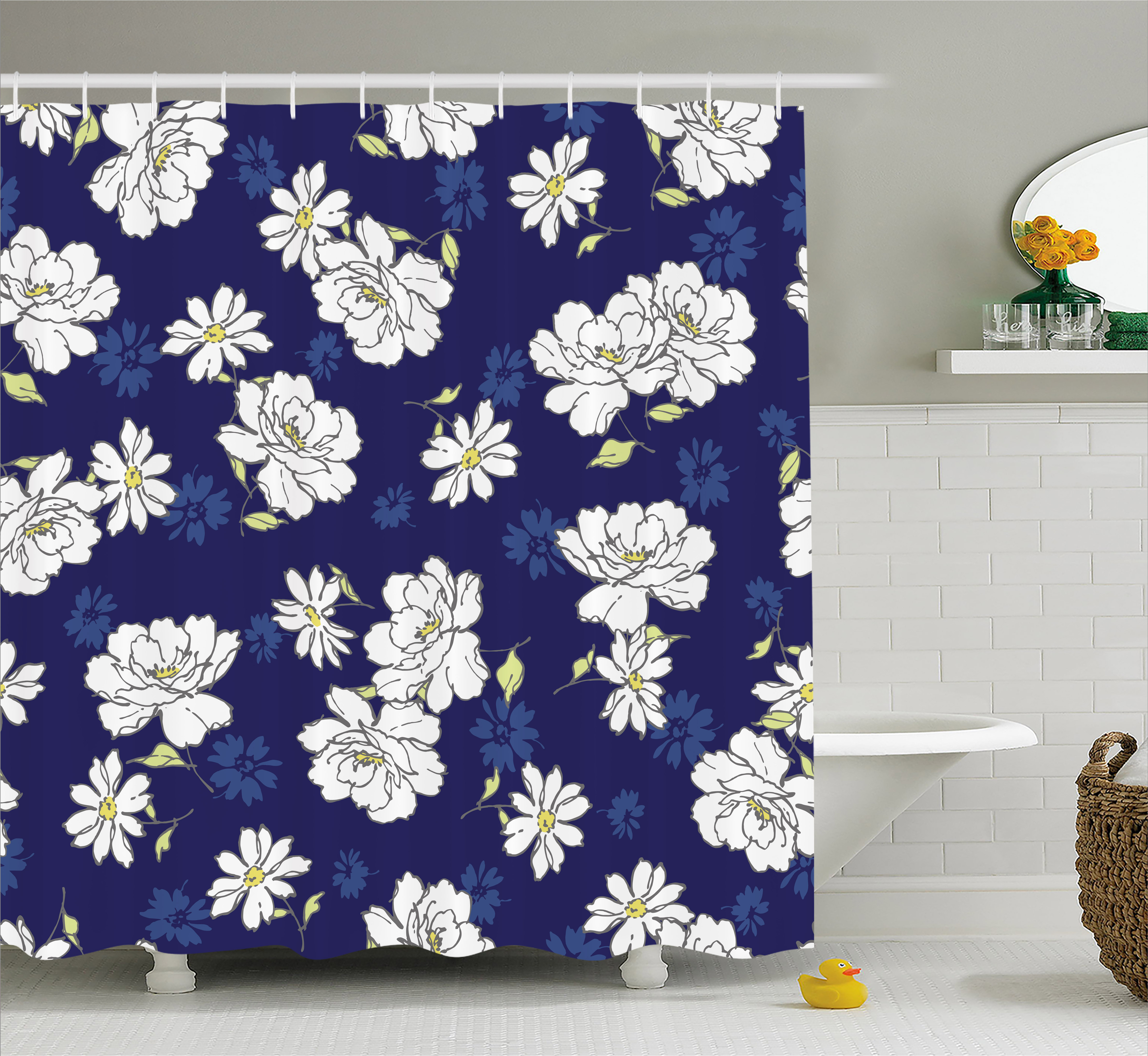 Navy And White Shower Curtain, Gentility Of The Spring Season Theme  Flourishing Meadow Flowers,