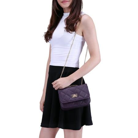 e6c2300b1b6 HDE Women s Small Crossbody Handbag Purse Bag with Chain Shoulder Strap  (Cream) - image ...