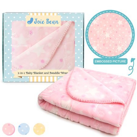 JOIE BEAN Fleece Baby Blanket for Infant & Newborn | Super Soft Plush Infant Blankie for Crib | Warm, Reversible Elephant Baby Blanket with Textured Bear Pattern