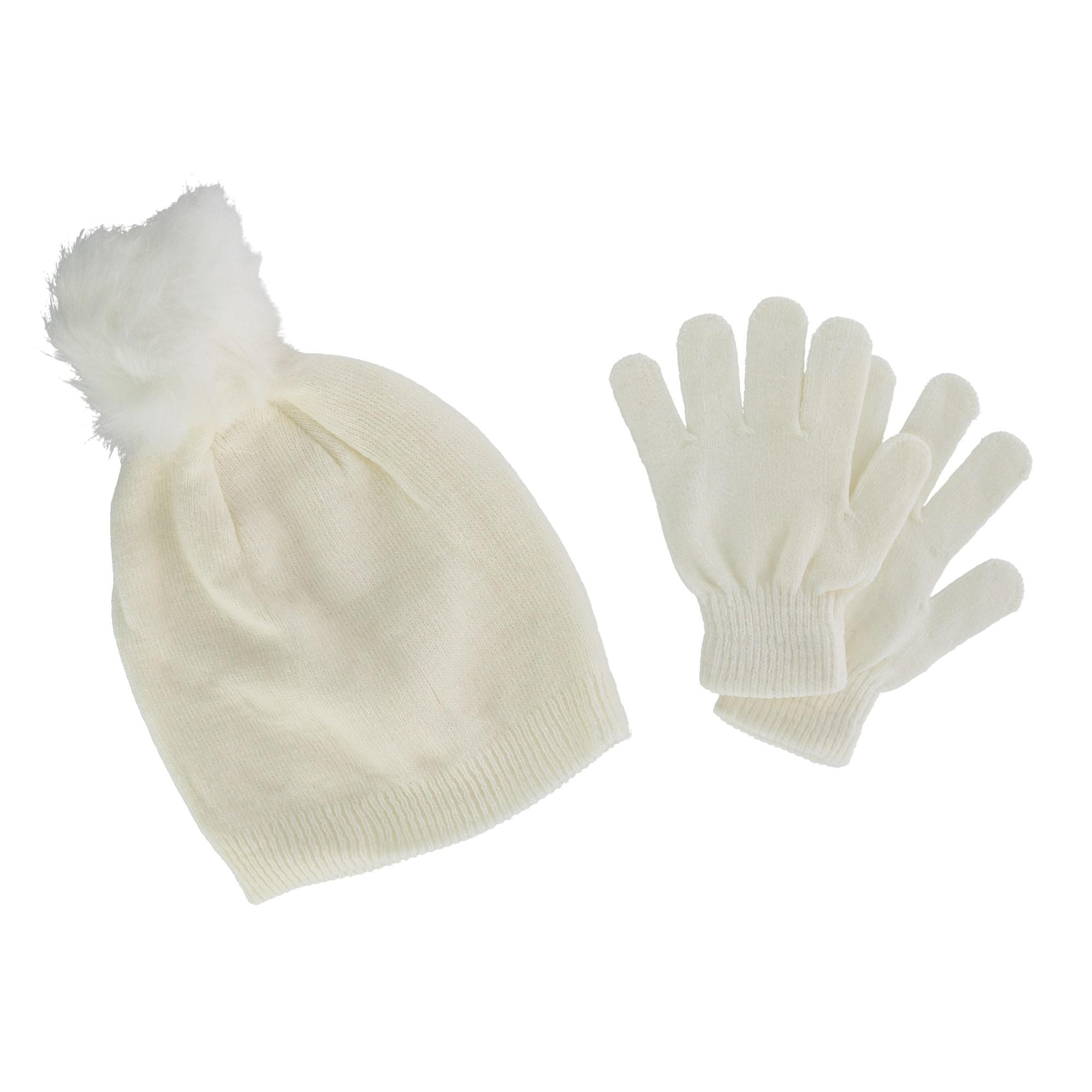 CTM Girl's 7-14 Acrylic Beanie with Pom and Glove Set - image 1 of 1