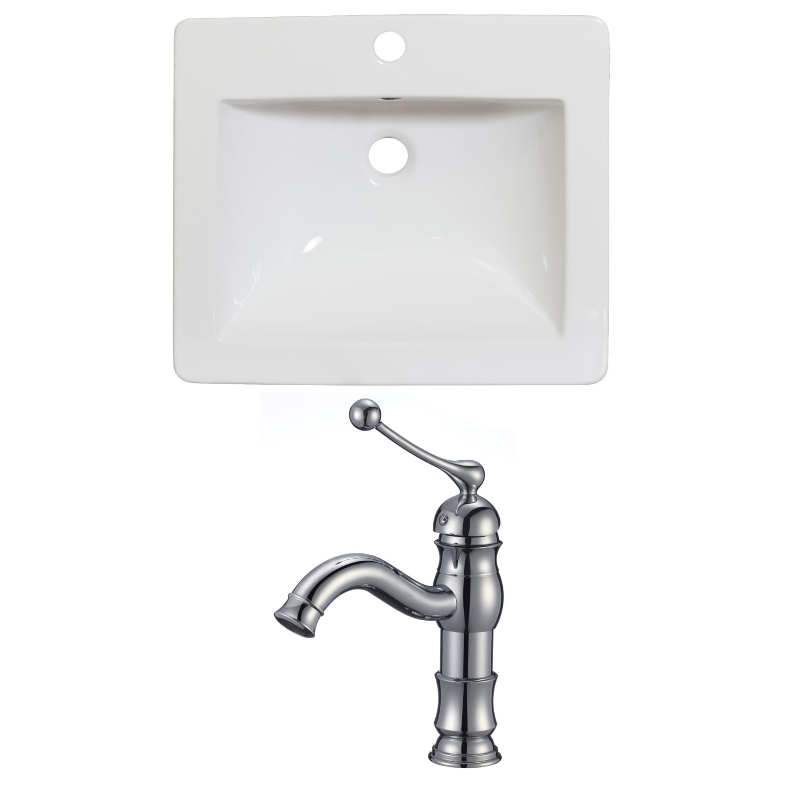 American Imaginations 21-in. W x 18-in. D Ceramic Top Set In White Color With Single Hole CUPC Faucet