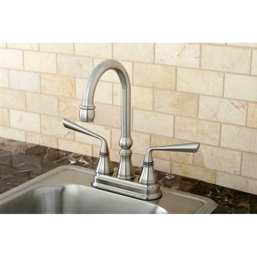 Kingston Brass KS249 Silver Sage Deck Mounted Bar Faucet with Metal Lever Handle