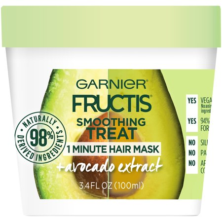 Garnier Fructis Smoothing Treat 1 Minute Hair Mask with Avocado Extract, 3.4 oz.