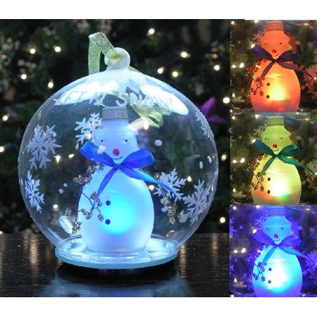 LED Snowman Christmas Ornament Glass Globe Color Changing Hand Painted Snowflakes 5 Inch Diameter Hand Painted Snowflake