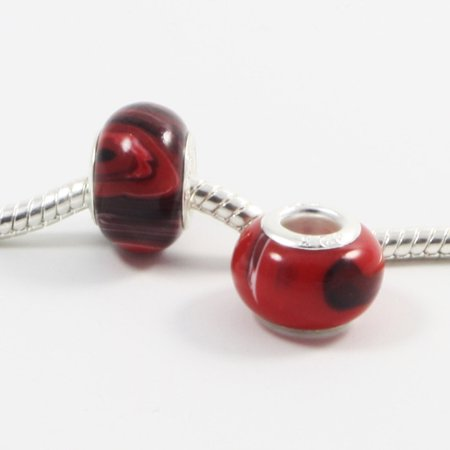 Swirl Silver Beads (3 Beads - Red and White Marble Swirl Resin Silver European Bead Charm E0047)