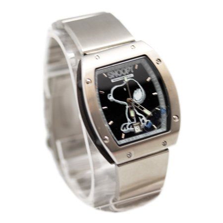 Snoopy Black and White Dial Face Stainless Steel Band Watch