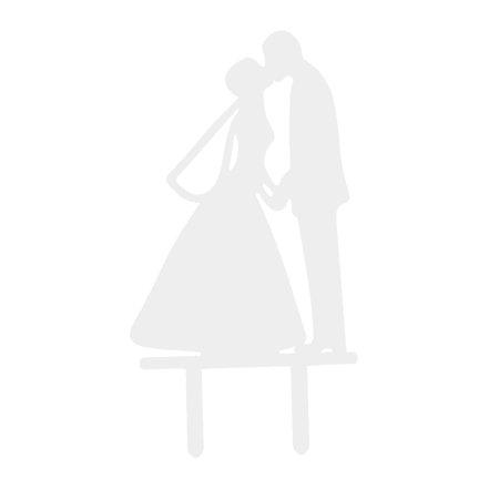 Party Acrylic Bride Groom Design DIY Craft Cake Topper White 6.5 Inches Length - image 4 de 4