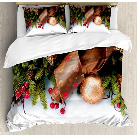 Christmas King Size Duvet Cover Set, Pine Cones with Garland Tree Topper Star Mistletoe and Swirled Ornate Elements, Decorative 3 Piece Bedding Set with 2 Pillow Shams, Multicolor, by Ambesonne ()