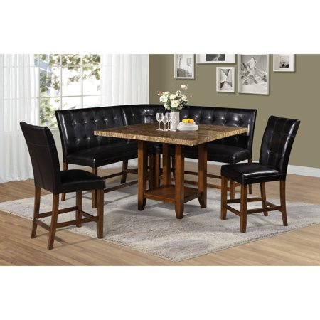 Excellent Steve Silver Co Cavett 6 Piece Corner Bench Counter Height Dining Set Ncnpc Chair Design For Home Ncnpcorg