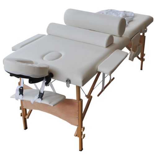 "Zimtown 84"" Portable Massage Table Set, Professional All-Inclusive Folding Massage Bed, with 2 Bolster Pillows, Cradle Cover, Sheet, Hanger and Adjustable Headrest for Facial SPA and Tattoo"