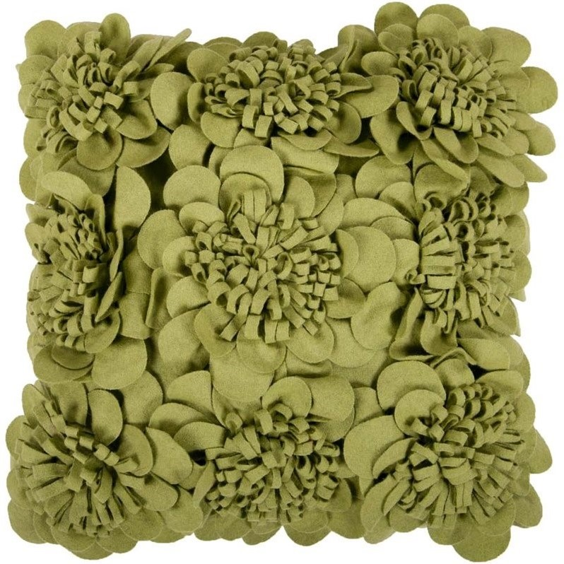 Surya Mums Decorative Pillow - Green