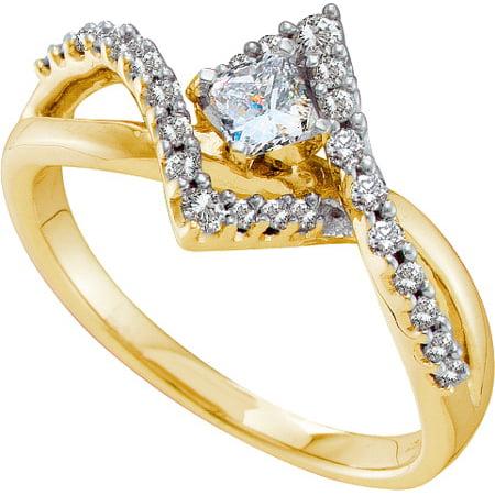 14K Yellow Gold 0.51ct Fancy Shared Prong Diamond Crossover Princess Bridal Ring