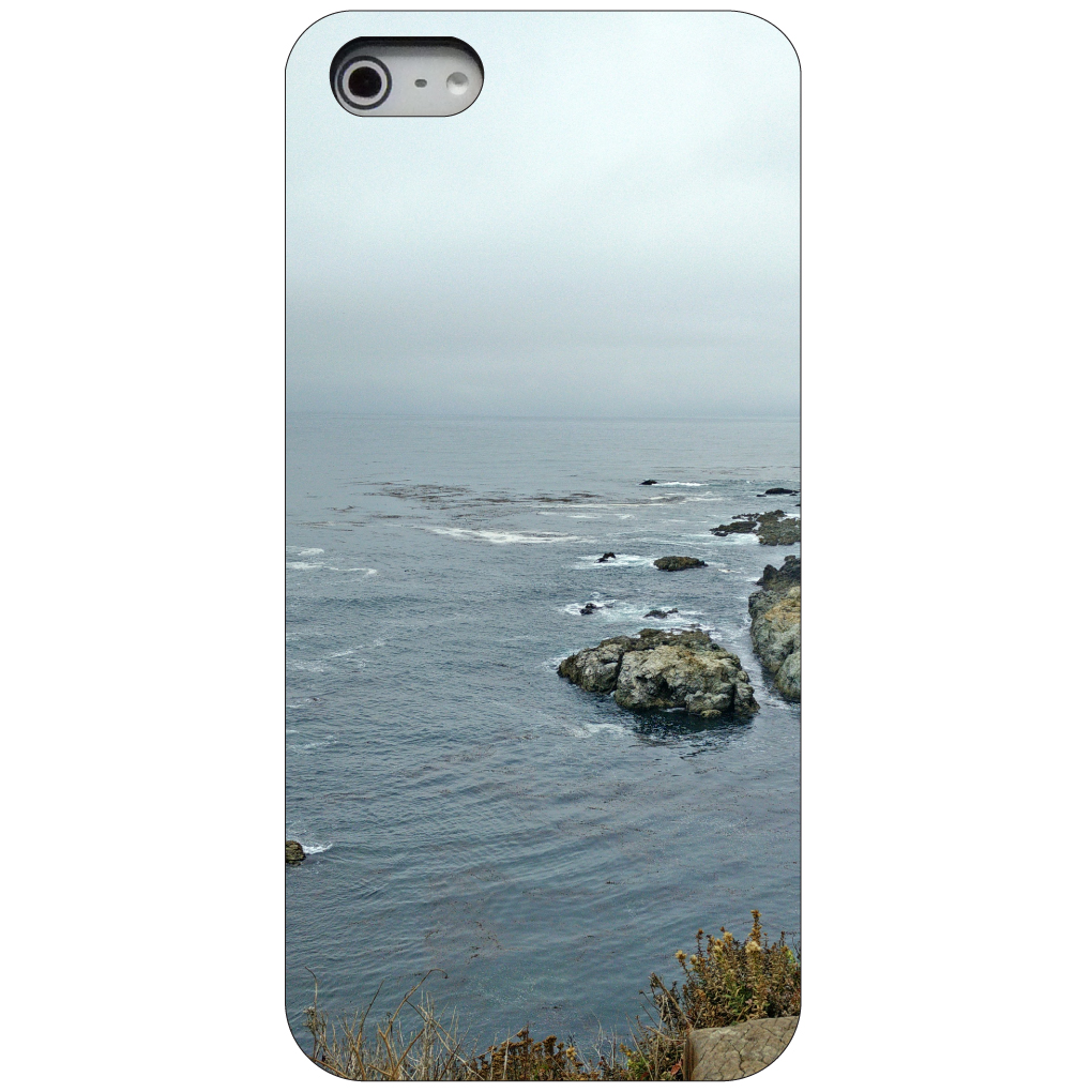 CUSTOM Black Hard Plastic Snap-On Case for Apple iPhone 5 / 5S / SE - Point Lobos Ocean Cliff