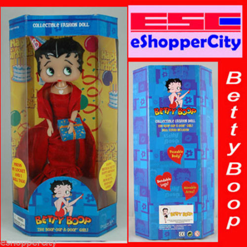 "Betty Boop 12"" Happy Birthday Singing IC Talking  Hollywood Stylew/ Doll Stand, New Gift Cartoon TV By Precious Kids 31108 Bendable leg"