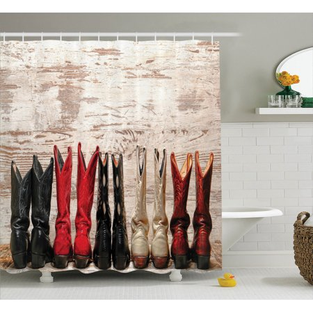 Western Decor  American Legend Cowgirl Leather Boots Rustic Wild West Theme Cultural Folkart Print, Bathroom Accessories, 69W X 84L Inches Extra Long, By - Western Theme Wedding
