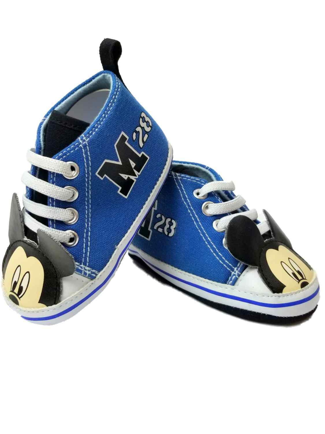 Disney Infant Boys Blue High Top Mickey Mouse Slippers Baby Crib Shoes