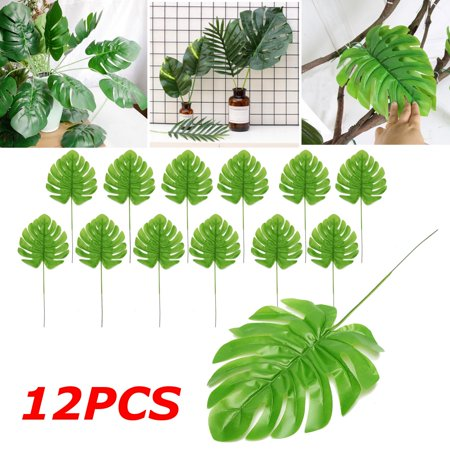 12Pcs Artificial Turtle Leaf Palm Fern Plant Tree Branch Green Wedding Decor Bush - image 4 of 7