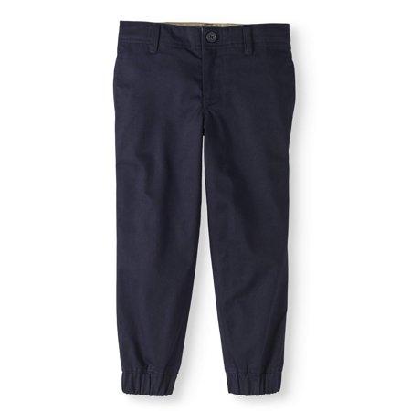 Boys' School Uniform Twill Jogger Pants With Adjustable Waistband