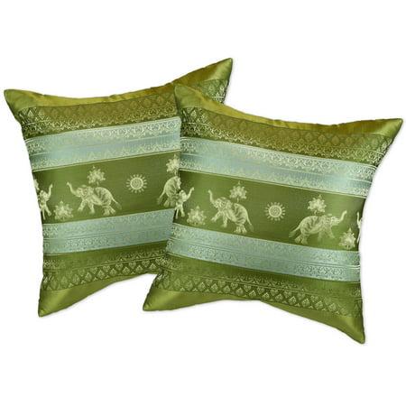 Olive Green Thai Elephant Sun Stripes Silk Throw Pillow Cushion Cover Set (Thai Silk Cushions)